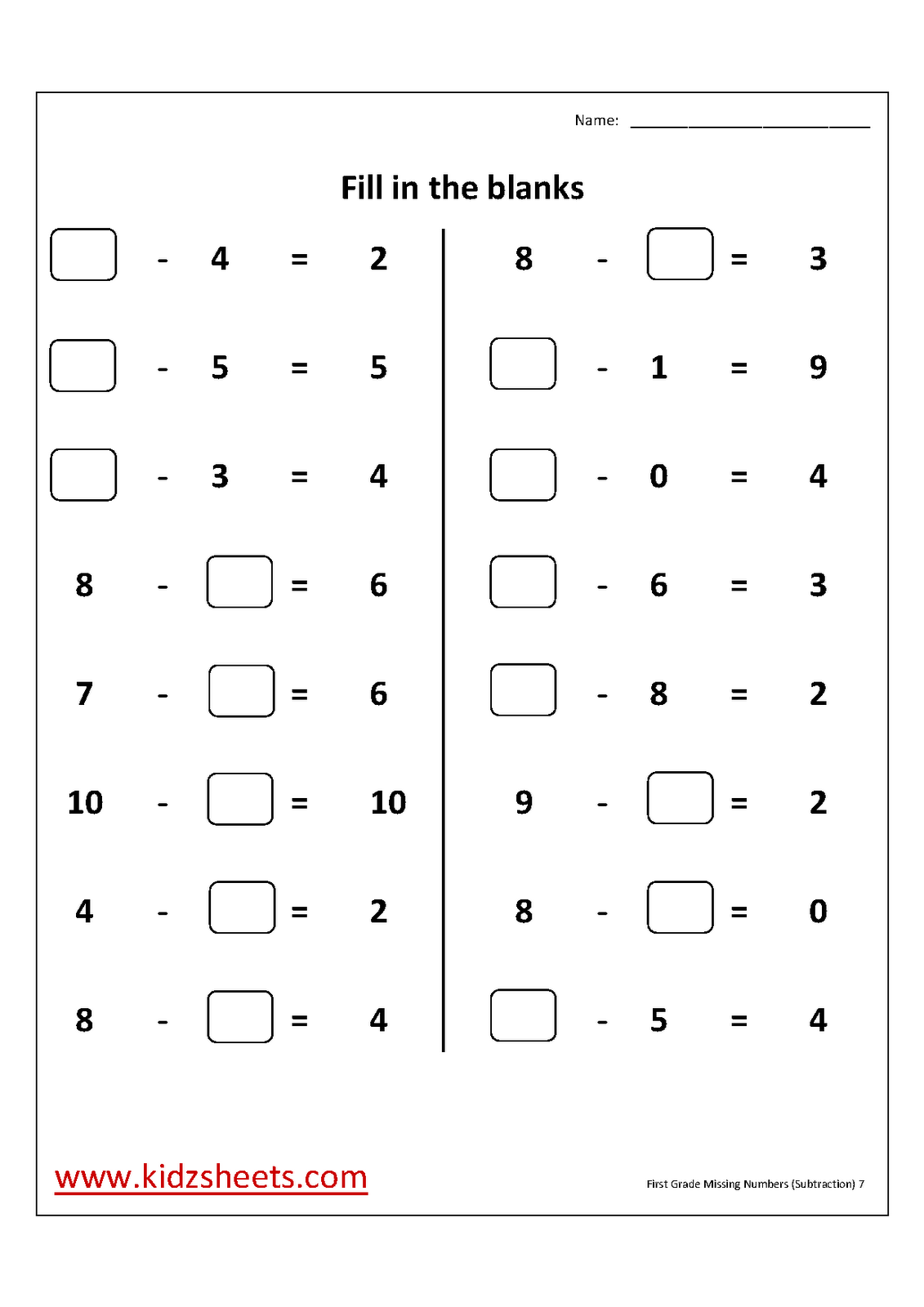 Missing Numbers For First Grade