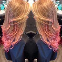 Ginger hair, pink tips, dip dye, pink hair, orange hair ...