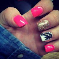 Bright pink acrylic nails | Nails | Pinterest | Pink ...