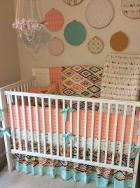 Aztec baby girl bedding in peach mint and gold with arrows ...