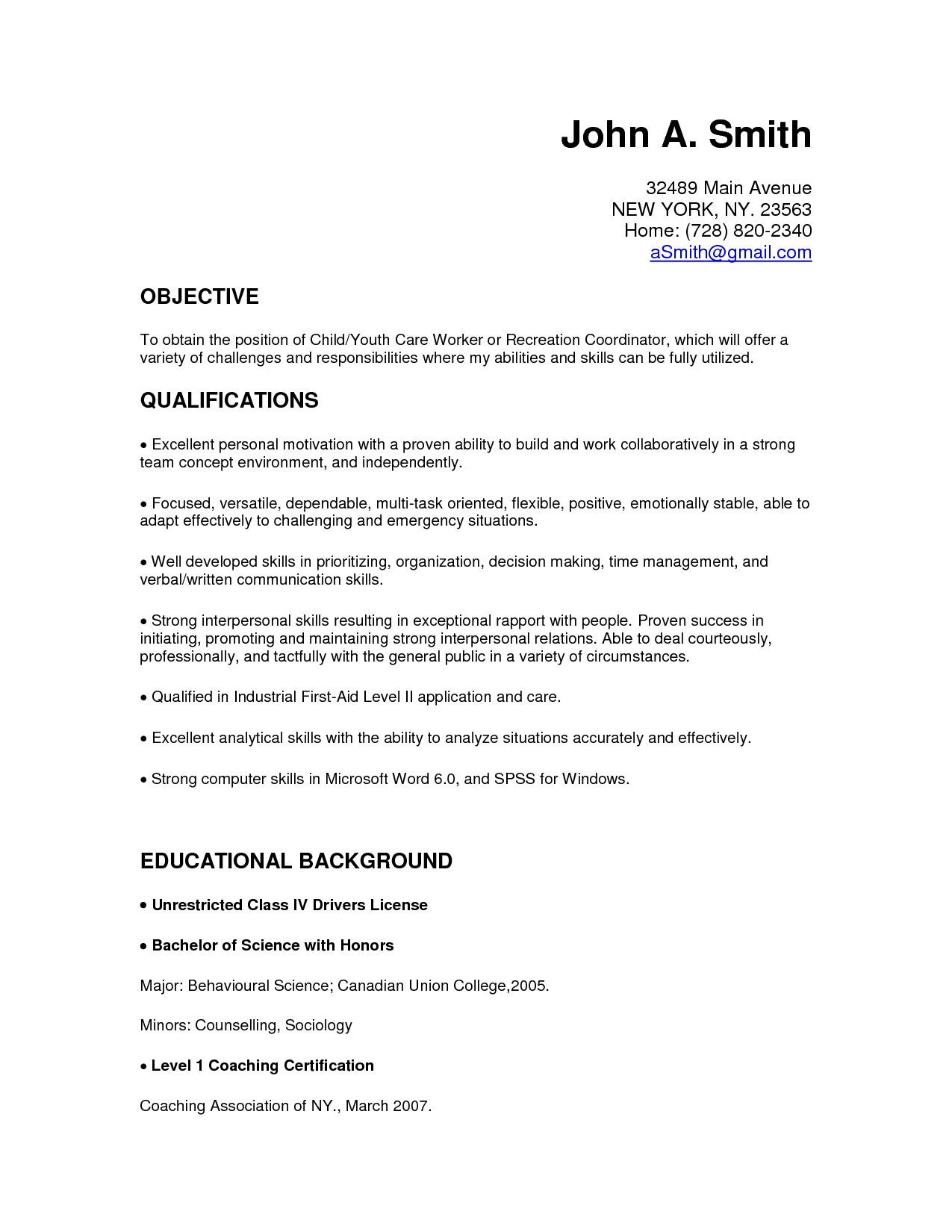 Child Care Resume Cover Letter Resumecareer Info