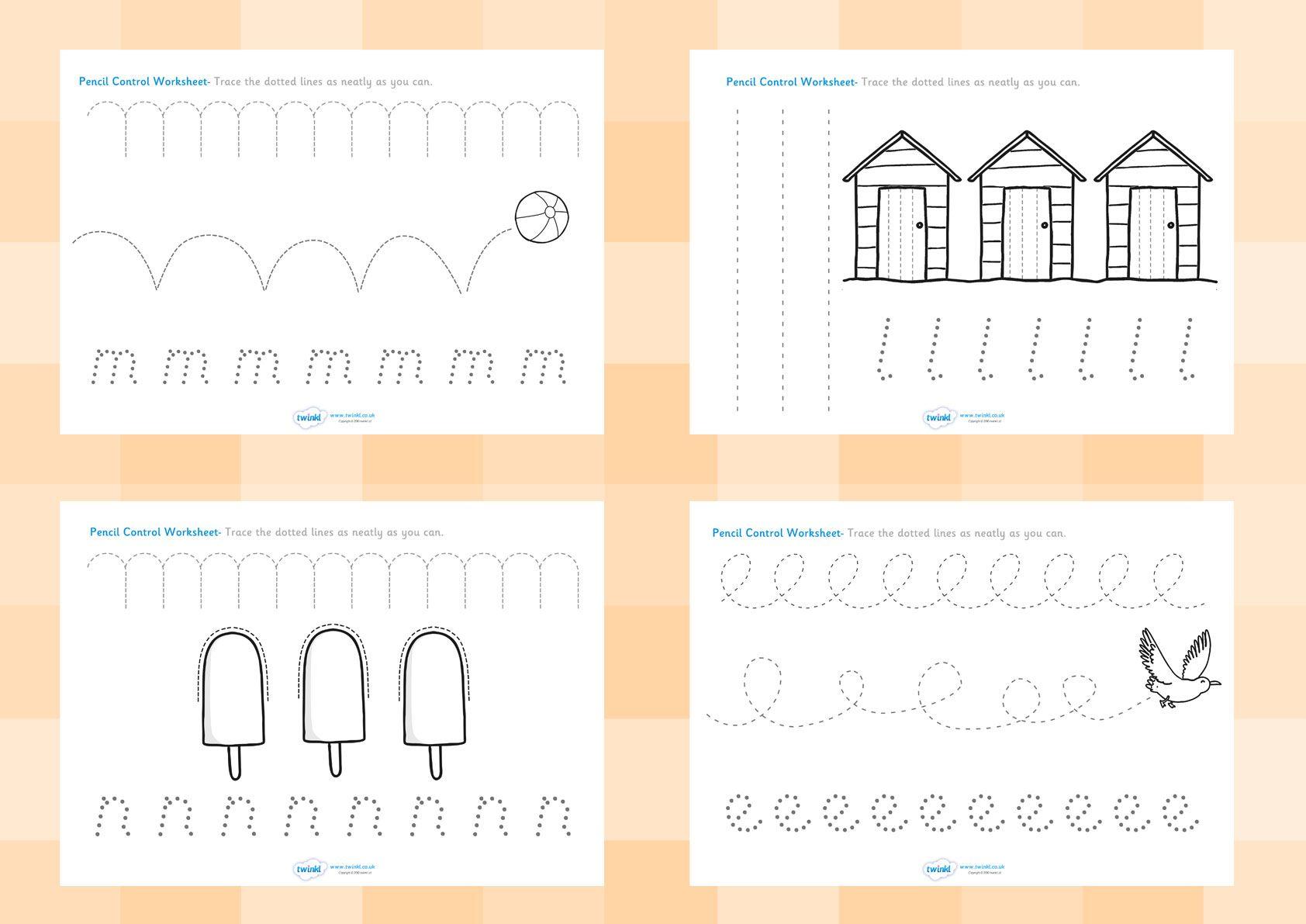 Twinkl Resources Gt Gt Seaside Pencil Control Worksheets