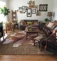 Cowhide rug - jute rug - layered rugs - boho living room ...