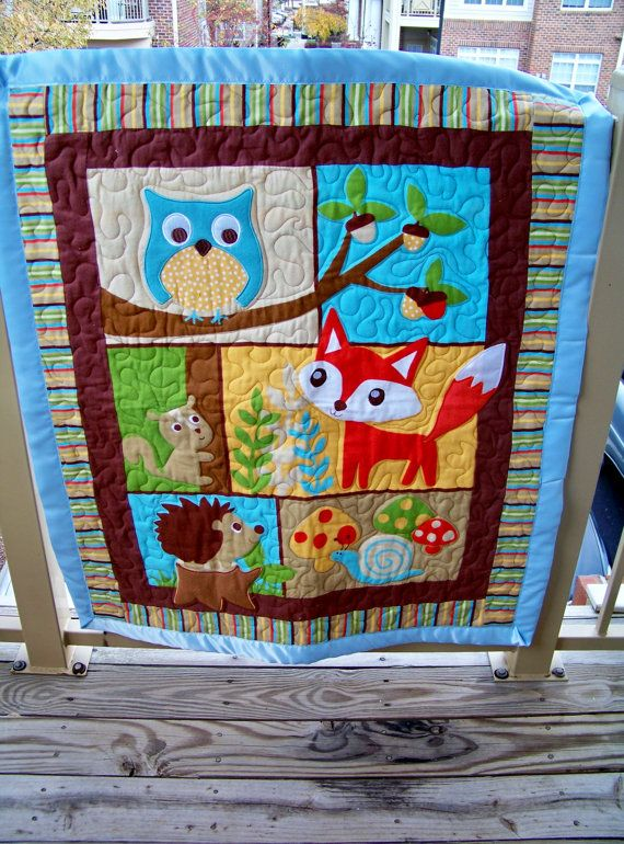 Forest Animals Snuggle Childs Quilt By Suryaquilts On Etsy