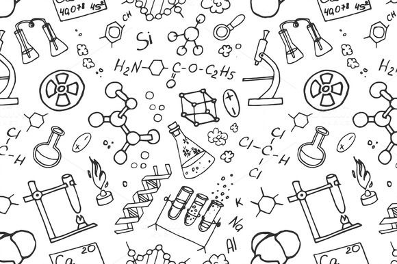 Doodle pattern chemistry by Netkoff on Creative Market