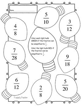 Simplify each fraction in the Christmas light. If the