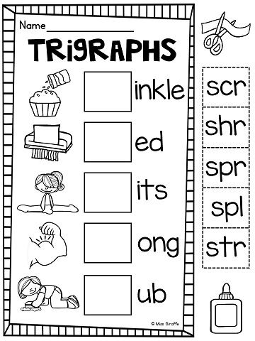 3 Letter Blends Trigraphs Worksheets & Activities {NO PREP