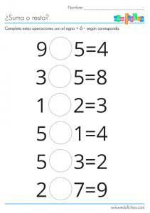 Fichas de matematicas. Completa estas sumas o restas #