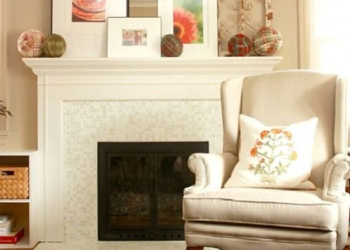 cozy white fireplace surround features our brio glass mosaic blend linen www also tileplace    an homage to the tiled