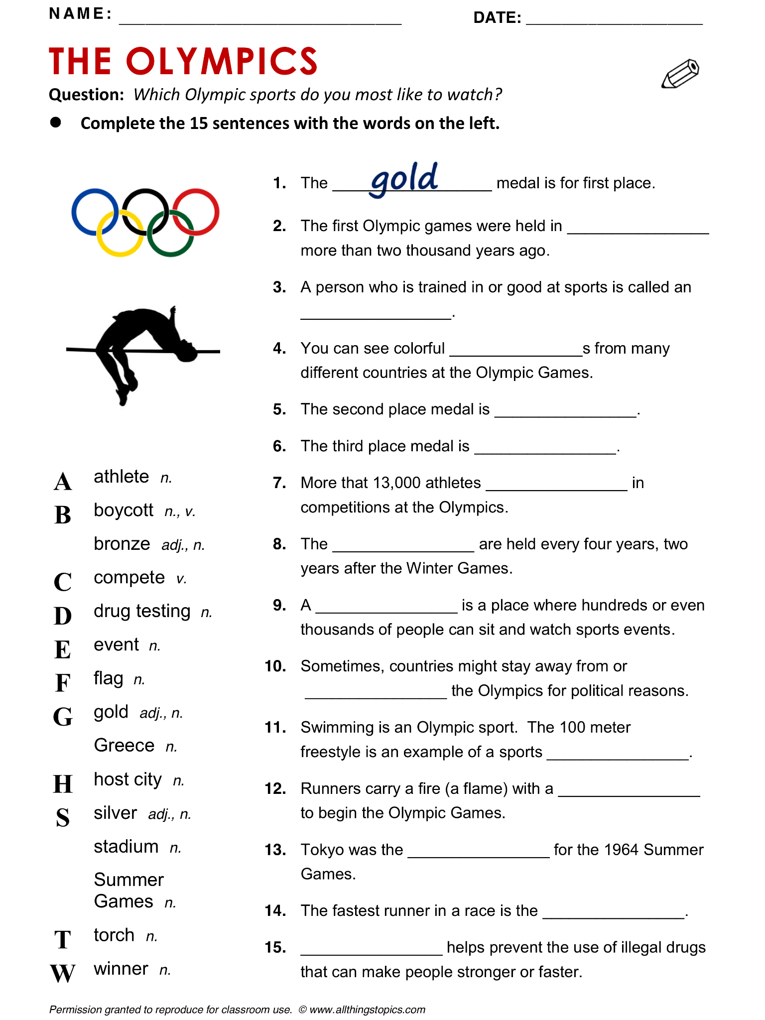Olympics English Learning English Vocabulary Esl