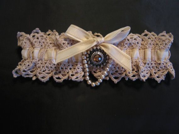 Bridal Garter Fine Crocheted Lace With Jeweled. Wished I'd