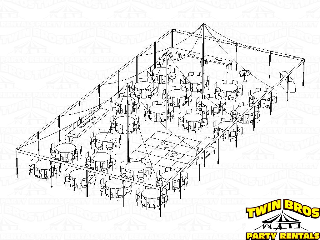 Pole Tent 40x80 3d Seating For 184 Rounds With Food And Dancing 768
