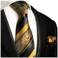 Gold and Black Silk Tie Set . Paul Malone Red Line ...