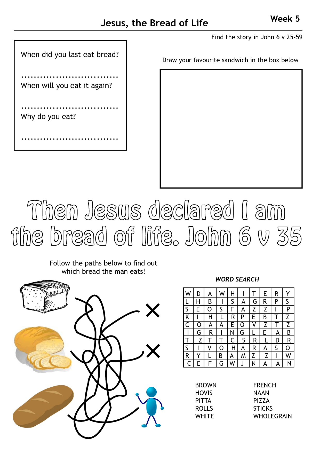 Jesus Bread Of Life Lesson Worksheets