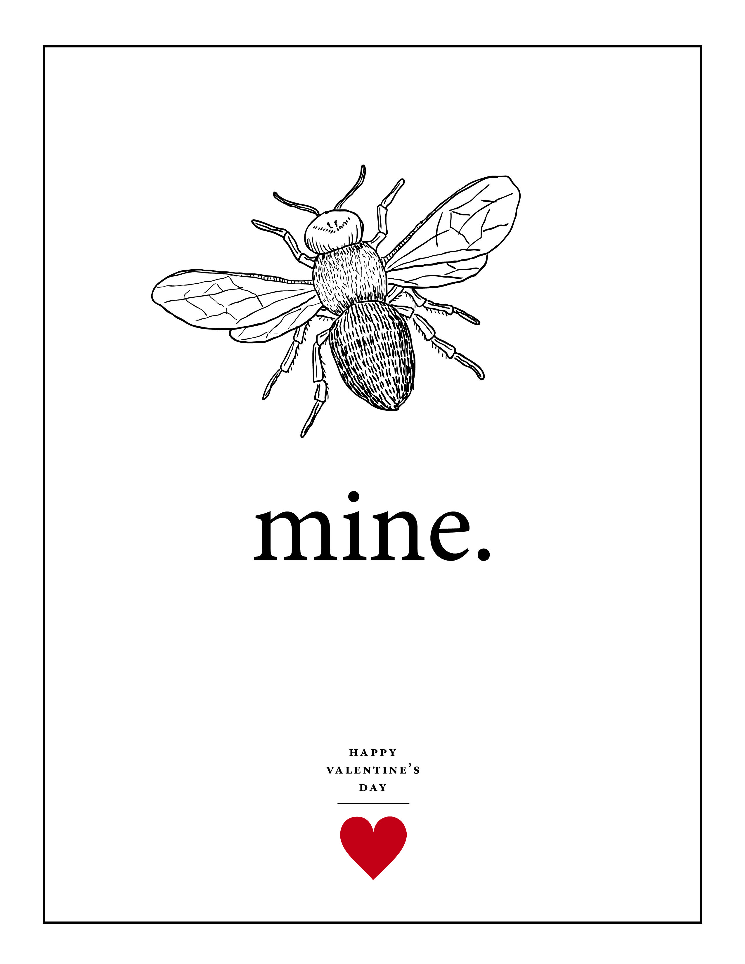 Download The Collections Of Bee Mine Hand Illustrated Valentine S Day Printables The Zip File