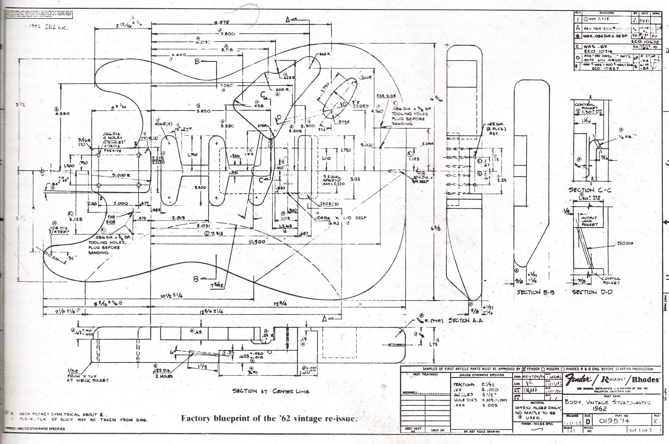 Fender Strat 62 Reissue Blueprint