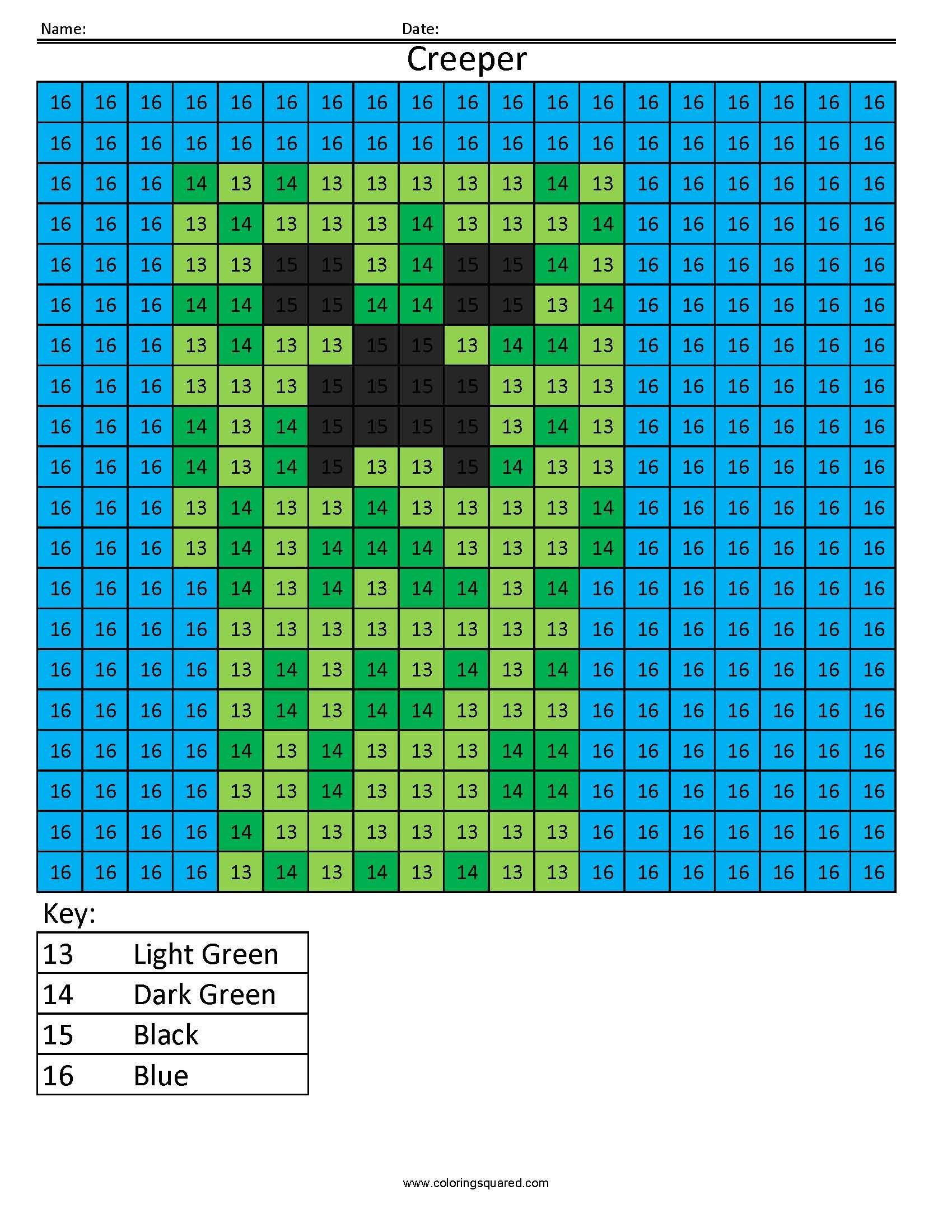 Mc13 Minecraft Creeper Math Coloring Sheets Big