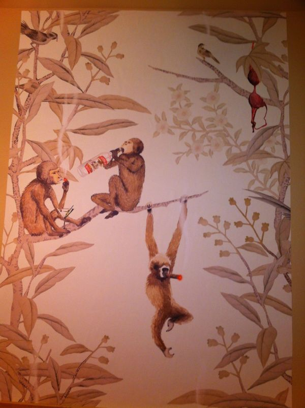 Chinoiserie Wallpaper with Monkeys