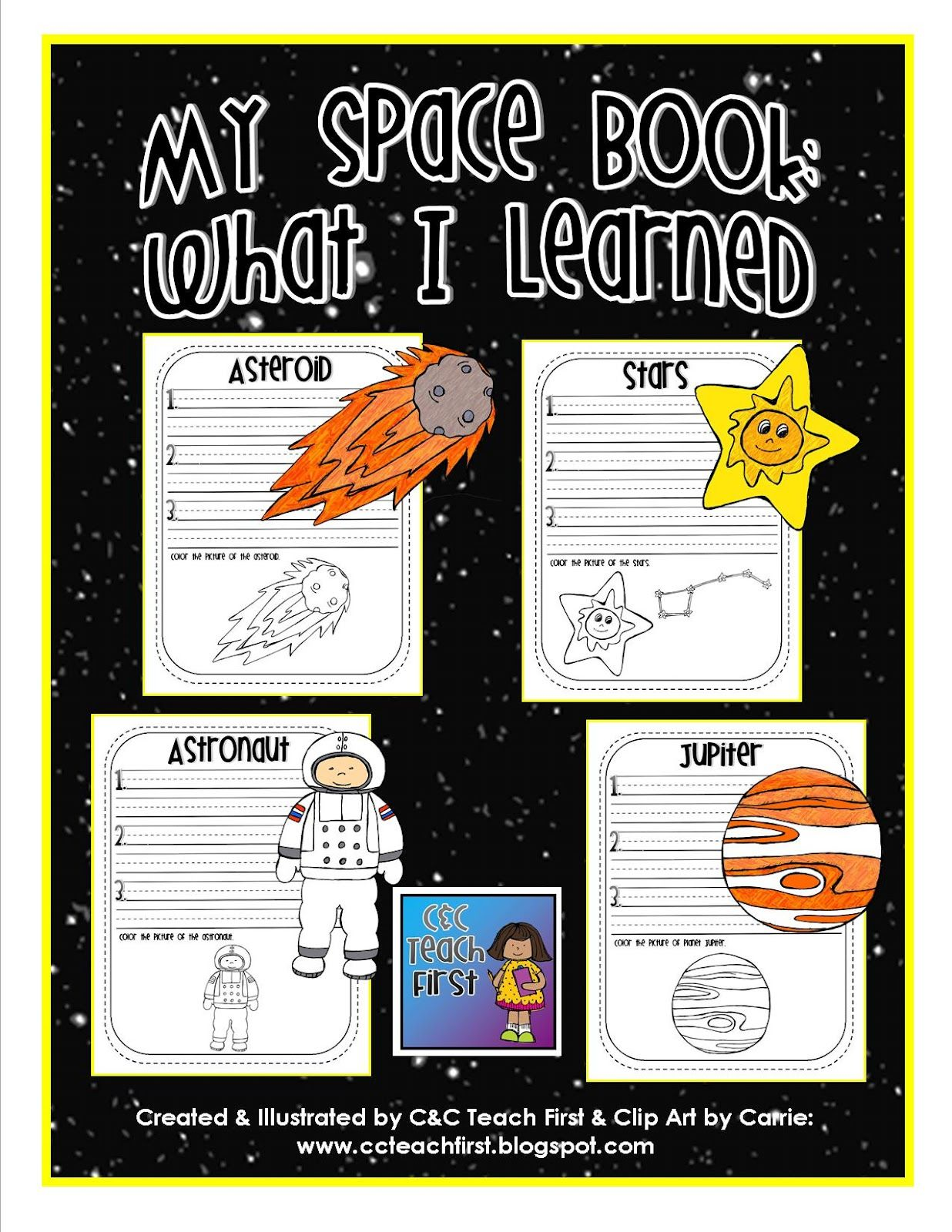 My Space Book Includes Facts Sheets For Mercury Venus Earth Mars Jupiter Saturn Ur