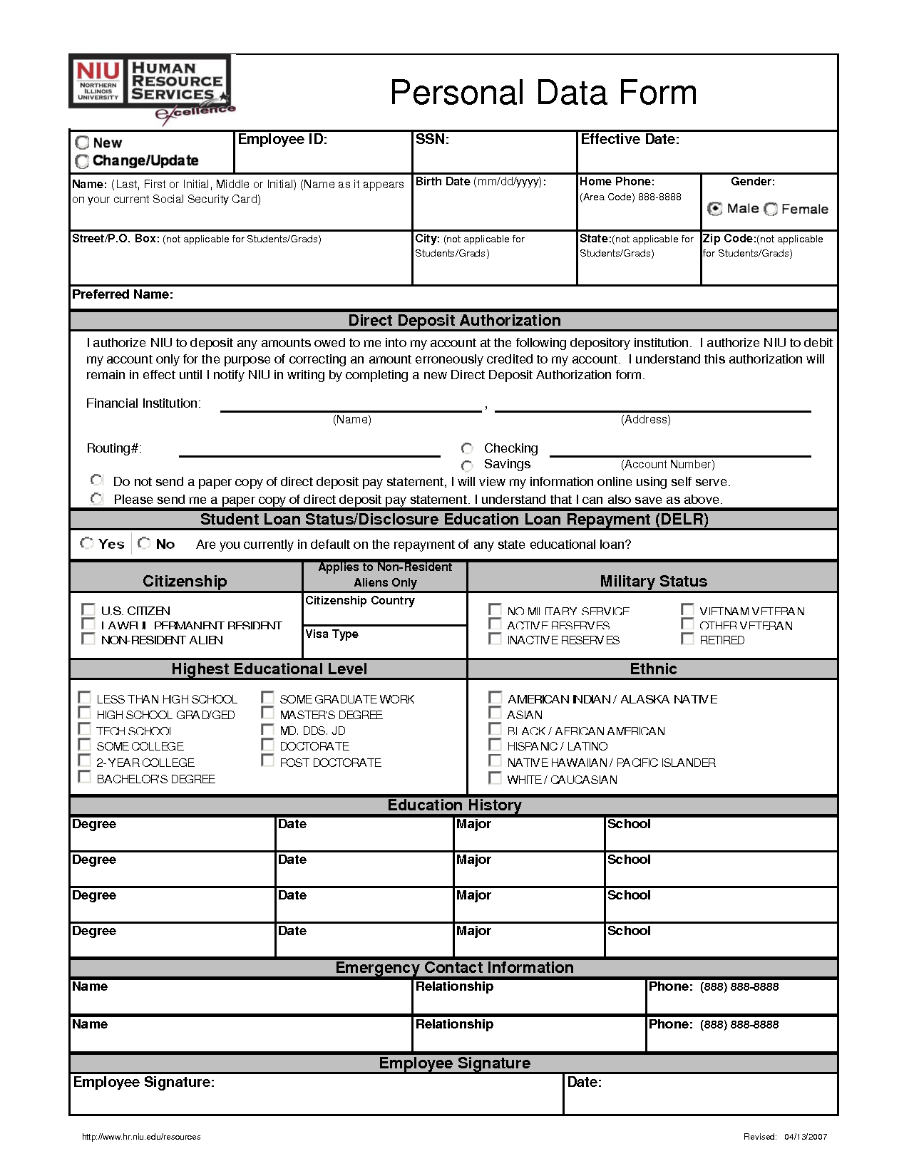 Personal Data Sheet Form Contact Form Personal Data