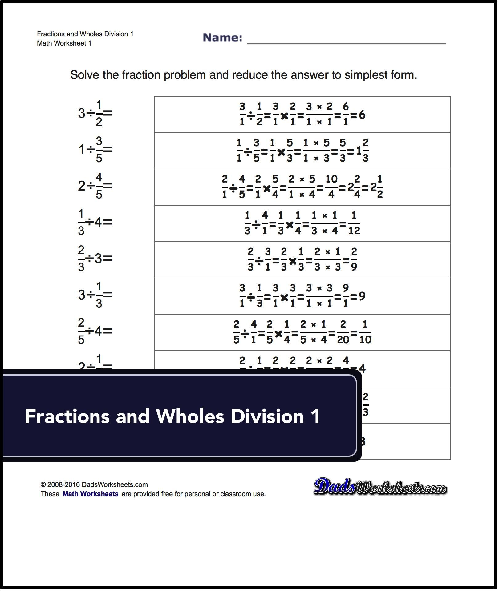 Basic Fraction Division Worksheets Including Dividing Fractions With Whole Numbers And Dividing