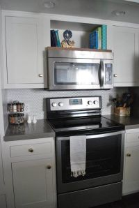 Open shelf above the microwave for cook books! | Kitchen ...