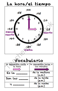 Spanish Telling Time Poster (La hora) from Sra Ward on