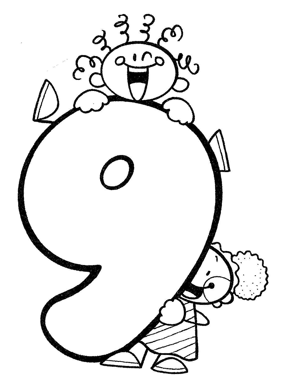 Material didáctico para niños. El número nueve, 9. Para