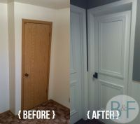 Hollow core door makeover with paint, trim and new knobs