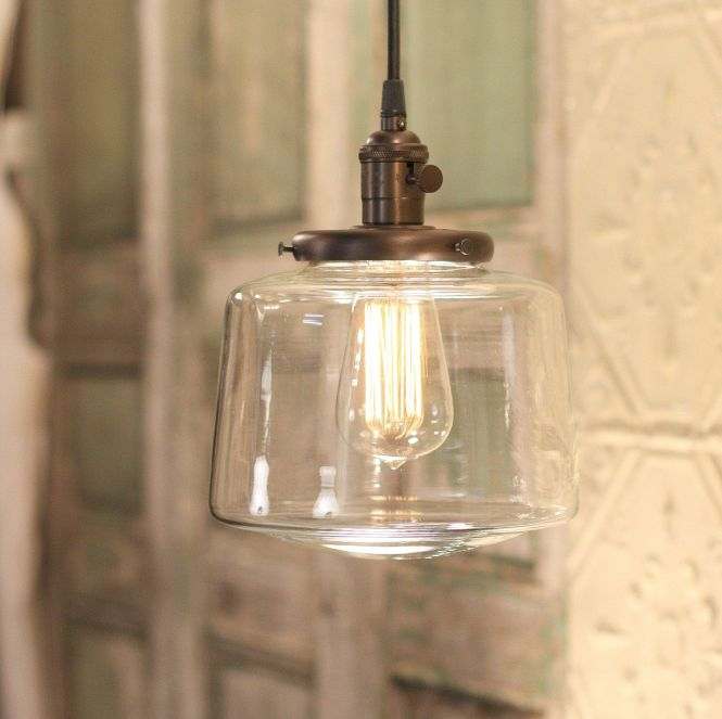 Pendant Lighting With Tapered Clear Glass Shade By Lucentlampworks