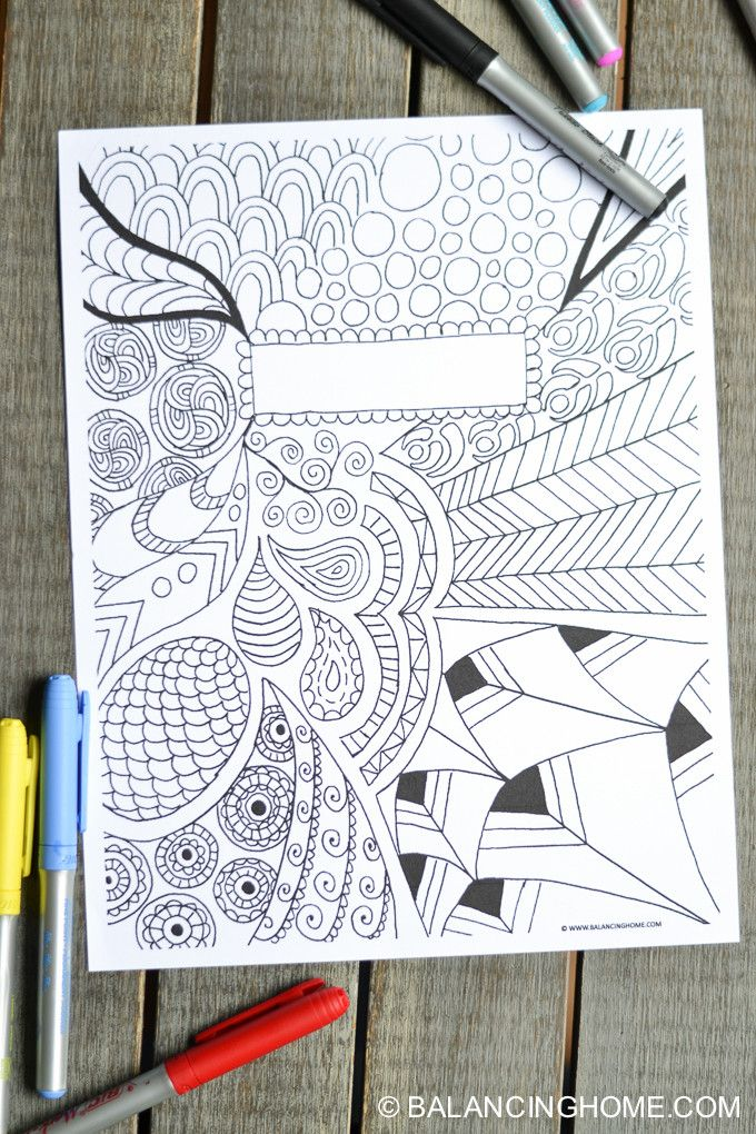 Coloring Page Binder Cover Printable Binder Doodles And