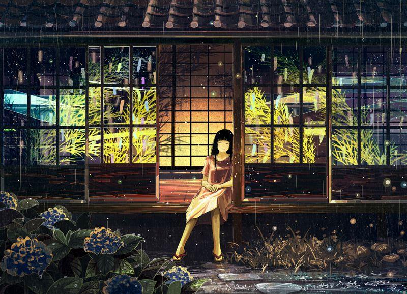 Anime Girl With Umbrellas In Rain Wallpaper げみ Pixiv More