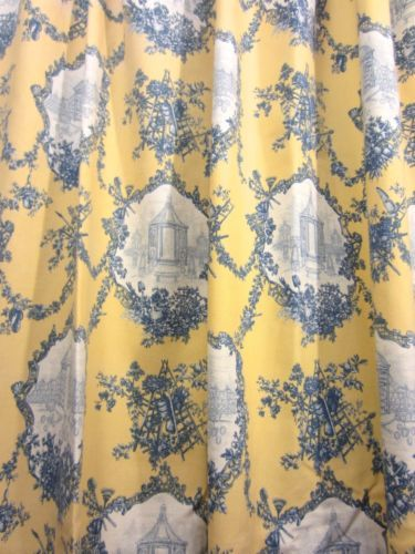 Pair THOMASVILLE Yellow & Blue FRENCH COUNTRY TOILE COTTON Shower