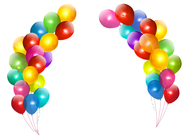 colorful balloons decor transparent