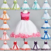 Details about Flower Girl Bridesmaid Rose Petal Dress ALL ...