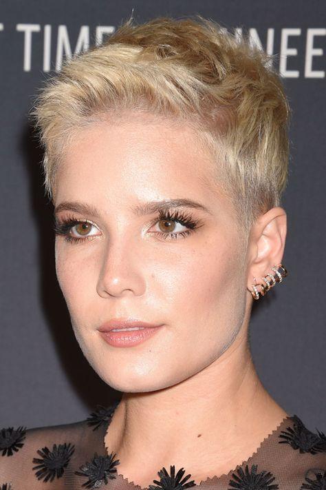 Halsey Straight Platinum Blonde Pixie Cut Hairstyle Steal Her