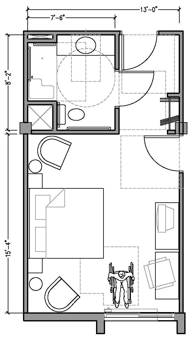 PLAN 2a: ACCESSIBLE 13 ft wide hotel room based on 2004
