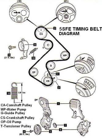 Toyota Camry 5SFE Engine Timing Belt, Water Pump and Seal