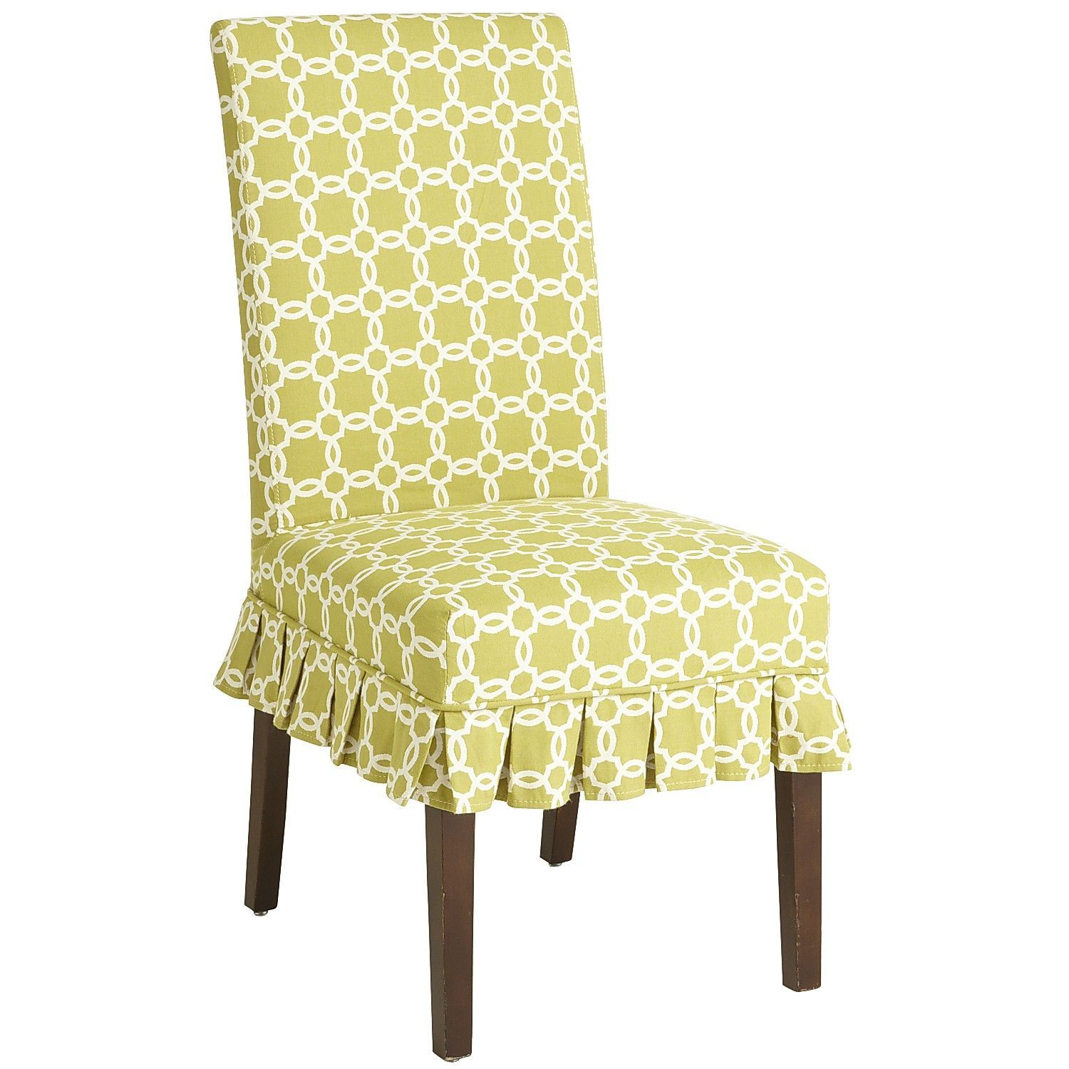 Green Chair Covers Dana Parsons Dining Chair Green Geometric Slipcover