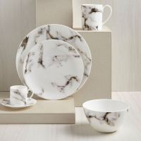 Grey & Gold Marble Dinner Plate  Set of 4 | Gold marble ...