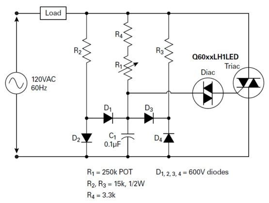 Figure 2. Dimmer circuit designed for better hysteresis