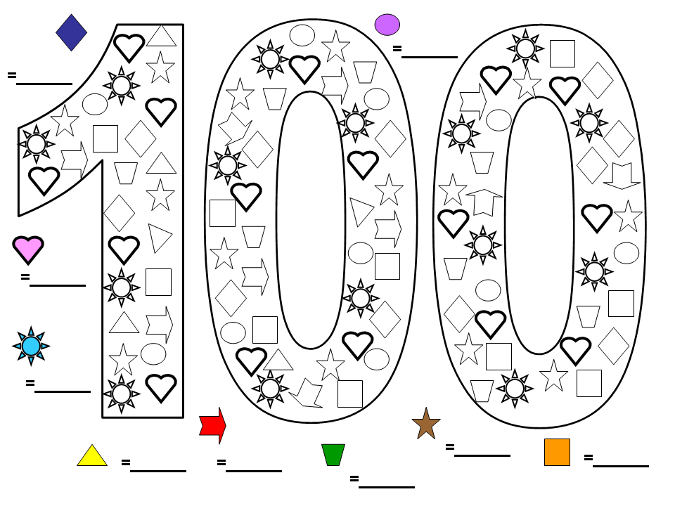 Here's a great colouring worksheet I made up for 100 Days
