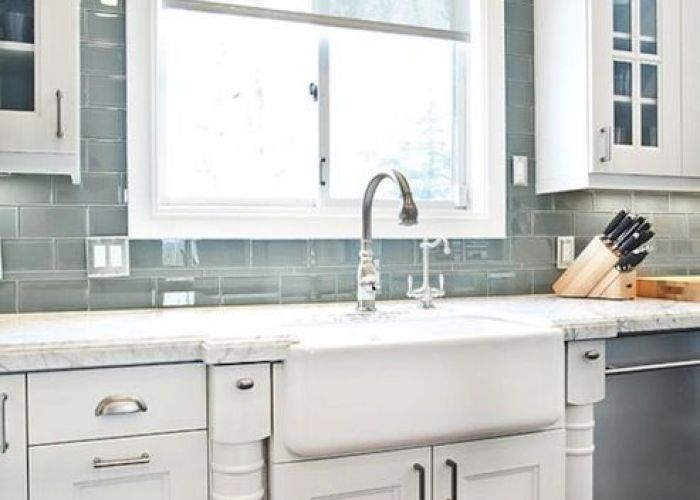 Ice grey glass subway tile kitchen backsplash found at http www also if you do  cheap and paint the cabinets high