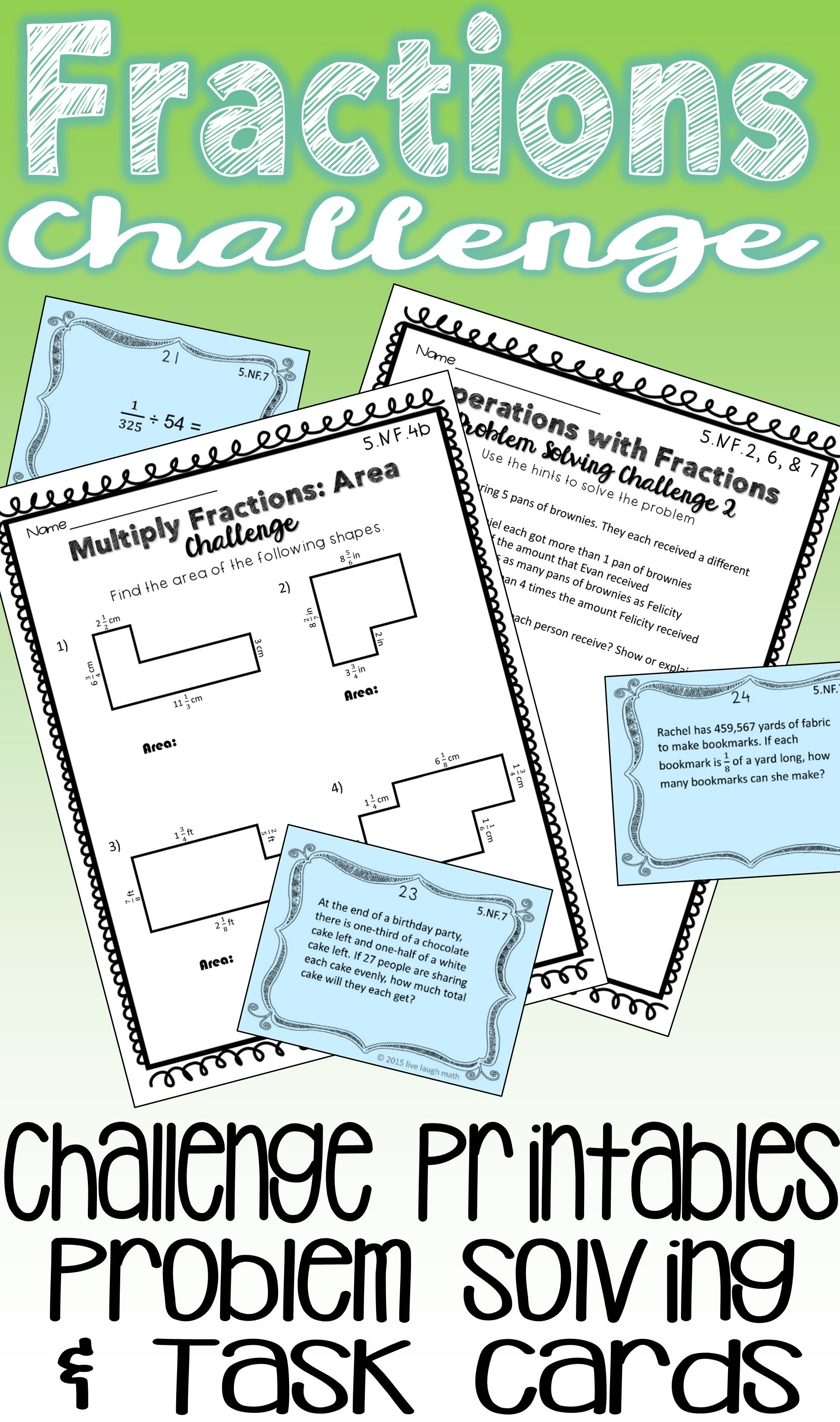 Fractions Challenge Printables Amp Task Cards