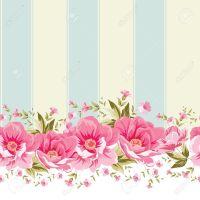 Ornate Pink Flower Border With Tile. Elegant Vintage