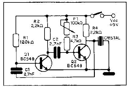 Este circuito produz um som de freqüência alta chegando ao