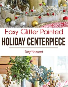 Glitter painted holiday centerpiece jingle bell craftscoca also paint coca cola rh in pinterest