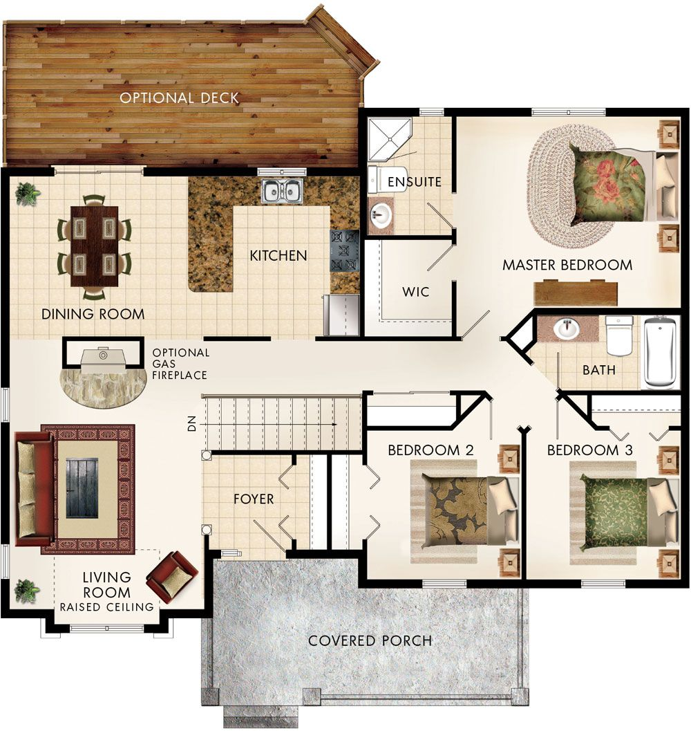 Cottonwood Floor Plan If have fireplace on side of living