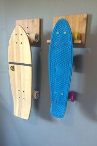 Bamboo Wood Skateboard Wall Rack | Skateboard rack ...