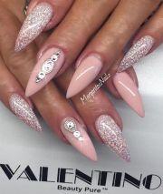 pink and bling nails nailed
